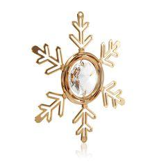 Matashi 24K Plated Highly Polished Snowflake Ornament with Genuine Matashi Crystals