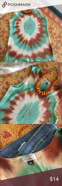 Really Awesome Tie Dyed and Bedazzled Tank Top Really awesome tie dyed and bedazzled tank top. New without tags. Purchased at a boutique in Kailua on Oahu, Hawaii. Great with jeans or white shorts or pants. Marabou Tops Tank Tops
