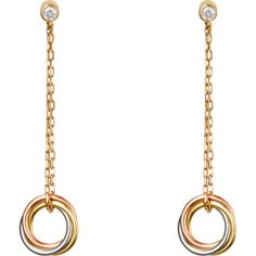 Trinity earrings White gold, yellow gold, pink gold, diamonds ($2,190) ❤ liked on Polyvore featuring jewelry, earrings, rose gold earrings, 18k diamond earrings, rose gold diamond earrings, diamond earrings and rose gold jewelry