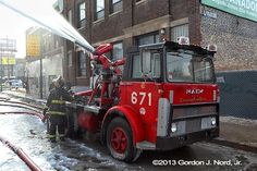 "Chicago FD Unit 6-7-1 Turret Unit Takes 10 2.5"" Lines, Capable Of Putting Out 20,000 GPM."