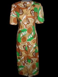 Vintage 1960s Abstract Split Sleeve Day Dress