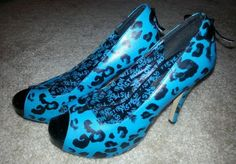 Iron-Fist-High-Heels-Size-9-Turquoise-Black-Open-Toe-Pump-Cute