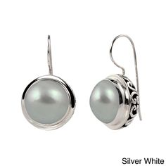 Sterling Silver Mabe Pearl Balinese Earrings