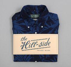 gitman brothers vintage - the hill side short sleeve shirt selvedge indigo discharge print tropical leaves on Wanelo