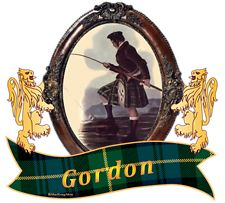 """Gordon Clan Tartan the Crest Issuant from a crest coronet Or a stag's head affrontée Proper attired with ten tines Or. The Gordon Clan Motto is chosen by the Clan Chief. """"Bydand """", Steadfast. MacRory Mor"""
