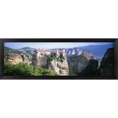 'Roussanou Monastery Meteora Greece' Framed Panoramic Photo
