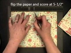 """Excellent tutorial for making a card with a pocket on the front of the card & another on the inside. Just takes 1 pc of 8.5x11 2-sided paper. By Patty Bennett (Apr'13) NOTE: if doing the diagonal score on the envelope punchboard PLACE PAPER AT 4 3/4"""""""