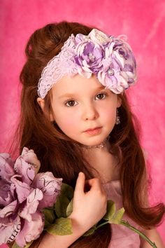 Luxe Lilac and Baby Pink Girls Flower Headband by lepetitejardin