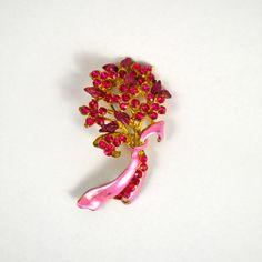 Vintage Pink Rhinestone and Gold Floral Enamel Bouquet Brooch