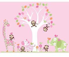 Girls Pattern Tree and Jungle Animals Decals - Vinyl Wall Art Decal Sticker. $149.00, via Etsy.