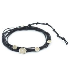 Black Cord Wrap Pebble Bracelet Ring Necklace, Earrings, Jewelery, Jewellery Rings, Cord Bracelets, Fashion Bracelets, Handcrafted Jewelry, Fine Jewelry, Bronze