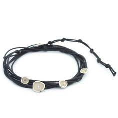 Black Cord Wrap Pebble Bracelet