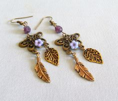 butterfly earrings with feather and leaf charms, antiqued bronze, purple, Dream Flight