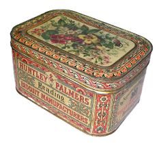 c.1870 biscuit tin Vintage Canisters, Vintage Trunks, Tin Containers, Pretty Box, Vintage Typography, Funky Furniture, Tin Toys, Tin Signs, Art Nouveau