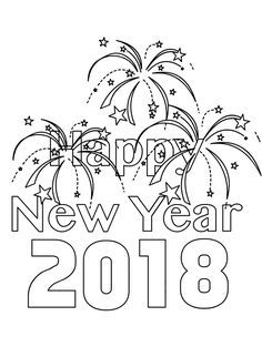 new year 2018 coloring page
