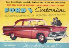 """Vintage Ford Ad -British spec car. Right-hand drive. Note """"tyres"""" in headline."""