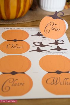 Thanksgiving Place Cards Printable (Pumpkin) - Press Print Party!