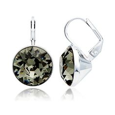 MYJS Bella Drop Earrings Rhodium Plated with Black Diamond Swarovski Crystals Exclusive Limited Edition >>> To view further for this item, visit the image link. (This is an affiliate link and I receive a commission for the sales)
