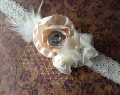 Ivory satin flower headband, Ivory satin headband, netting,cream feather headband-newborn, baby,girl headband-photo prop-flower girl- bridal