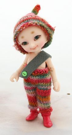 Autumn Leaves - Hand knitted pants and hat set for fairyland Realpuki Tyni BJD