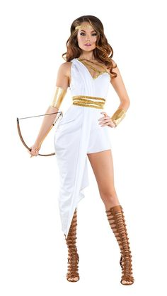 4dc114711 Starline Greek Huntress Costume Women's Costume - Nastassy Huntress Costume,  Gold Headpiece, Costumes For