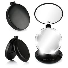 Lighted Vanity Mirror with Small Compact Mirror,Oenbopo LED Lighted Travel Makeup Mirror with 1X/5X Magnifying Mirror Double-sided Compact Folding Vanity and Travel Mirror Cordless Battery Operated >>> Check this awesome product by going to the link at the image-affiliate link. #Mirrors
