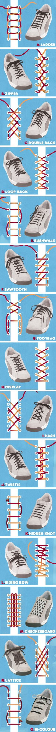 Different spiffy ways to tie your shoes.