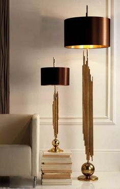 Luxury Hotel Table Lamps, Ultra High End Grand Scale Designer Sculptural Gold Pipes Lamps, so beautiful, inspire your friends and followers interested in luxury interior design, with new trending accents from Hollywood courtesy of InStyle Decor Beverly Hills, Luxury Designer Furniture, Lighting, Mirrors, Home Decor & Gifts, over 3,500 inspirations to choose from and share with our simple one click Pinterest Pin button enjoy & happy pinning