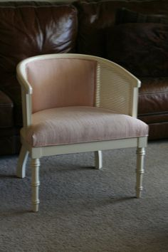 Vintage Morganton Barrel Chair with Cane Sides & Upholstered seat and Back - Pink and Cream - Off White Hollywood Regency Occasional Chair