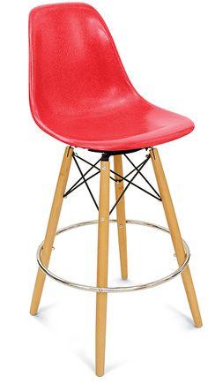 Fiberglass Shell Chair Dowel Bar Stool