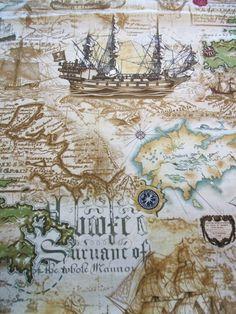 Parchment Nautical Map Ship Pirate Kanvas Studio Maria Kalinoski Benartex Fabric