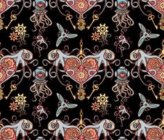 octopuses in love Black scale 50 fabric by chicca_besso on Spoonflower - custom fabric