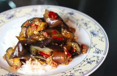 Spicy lamb sausage and eggplant, adapted from Katie Chin's Everyday Chinese