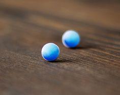 Stud Earrings – Blue earrings - shade of blue - stud earrings – a unique product by oceanyork on DaWanda