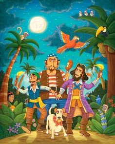 the directory of children's illustration Pirate Illustration, Decoupage Printables, Teaching Schools, Cartoon Painting, Fantasy Pictures, Gifted Kids, Pirate Theme, Inspiration For Kids, Fun Learning