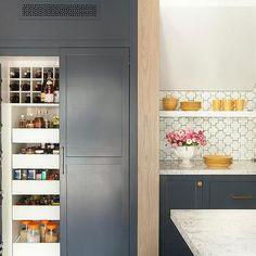 Blue Pantry Cabinet Door Spice Racks