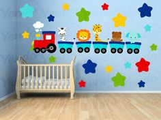 Wall Decals for Kids Bedroom  Animal Train Wall by YendoPrint, $35.00