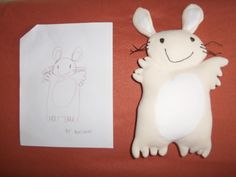 Plush made from a kid's drawing, by myowncuddly.com
