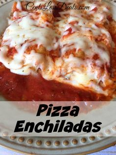Pizza Enchiladas. I won't lie, at first I thought these were strange but now I'm in love! This is my favorite pizza recipe now! I filled mine with sausage and mushrooms and everyone raved about them! So weird but I'm totally making these again soon!