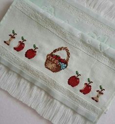 Cross Stitch Embroidery, Towel, Anime, Cross Stitch Fruit, Embroidered Towels, Dish Towels, Counted Cross Stitches, Border Tiles, Towels