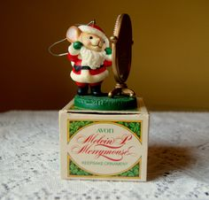 Vintage Avon,  Melvin P Merrymouse Ornament, Merry Christmas, Holiday Tree, Santa Mouse, Looking in Mirror, Ornament Exchange, Keepsake, 80s by BrindleDogVintage on Etsy