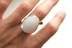 White Opal and Oregon Sunstone Ring  by erinjanedesigns