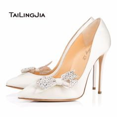 Womens Wedding Shoes High Heel Pumps With Bows White Patent Leather Pointy  Toe Stilettos Slip On c3f12f15846f