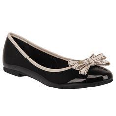 Sapatilha Preto/Vanilla de Verniz e Couro - Shoestock