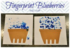 Letter B for Blueberries. Preschool fingerprint (or q-tip) craft to go along with Blueberries for Sale book.