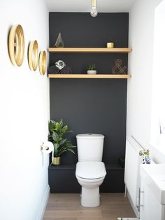 modern powder rooms Trendy Bathroom Renovations Before And After Budget Powder Rooms Small Half Bathrooms, Small Half Baths, Dark Grey Bathrooms, Bathroom Small, Powder Room Decor, Powder Room Design, Half Bathroom Decor, Bathroom Ideas, Bathroom Layout