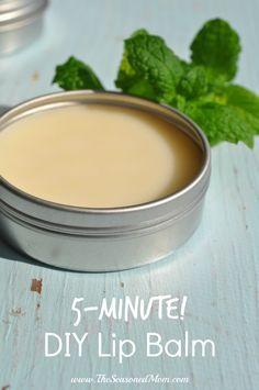 5-Minute DIY Lip Balm - organic coconut oil + beeswax + essential oil