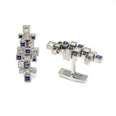 GRIMA - Sapphire and Diamond Cufflinks, 2014 - A pair of White Gold Cufflinks set with Diamonds and Sapphires