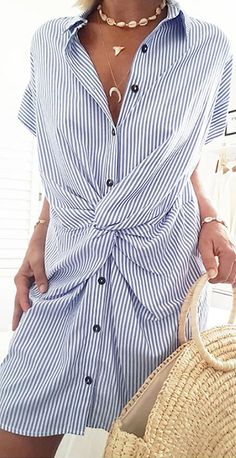 Shopping Casual Lapel Button Stripe Short Sleeve Twisted Dress online with high-quality and best prices Casual Dresses at Luvyle. Striped Shirt Dress, Striped Shorts, Stylish Dresses, Casual Dresses, Floryday Vestidos, Mode Streetwear, Camisa Formal, Collar Dress, Casual Summer