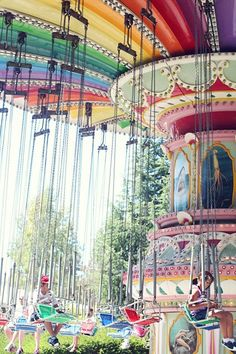 I don't know why, but the swings were (and still are) my favorite ride at amusement parks.so many other rides make me sick now, but I can still do the swings! Carrousel, Art Du Cirque, Carnival Rides, Fun Fair, Merry Go Round, Big Top, Jolie Photo, Parcs, Over The Rainbow
